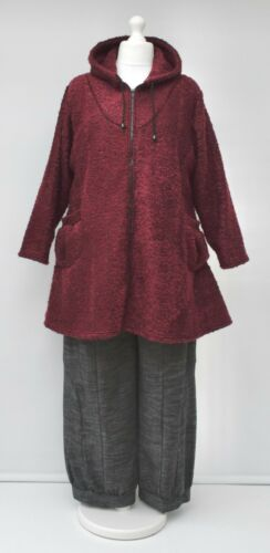 """PLUS SIZE BOUCLE HOODED A-LINE LONG JACKET*BERRY//ANTHRACITE*BUST UP TO 52/""""XL-XXL"""