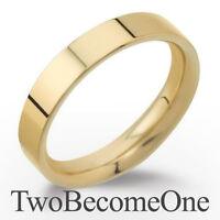 Handmade Ladies Wedding Ring 18ct Yellow Gold 4mm Flat Court Shape Band 6.0g