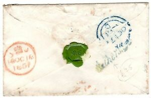 1851-RARE-HATHERSAGE-POSTMARK-BAKEWELL-COVER-TO-MISS-COCKER-LONDON