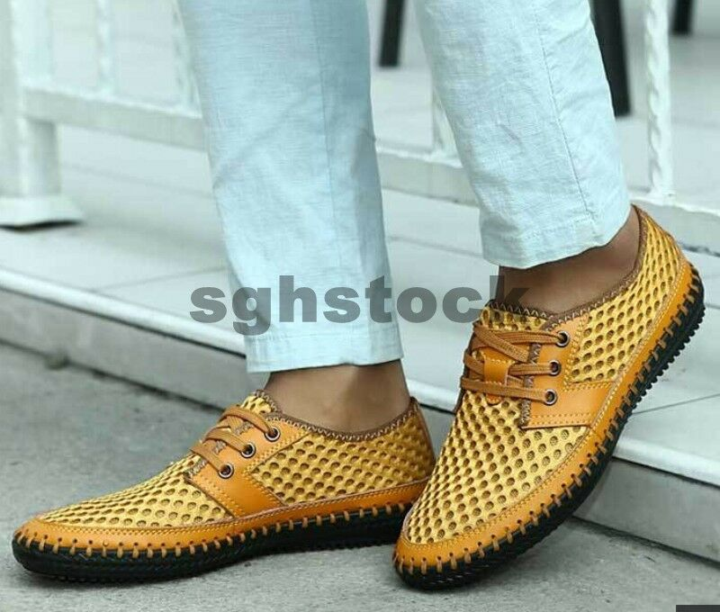 New Men's Summer Fashion Casual Breathable Mesh Lace Up Loafer Driving shoes