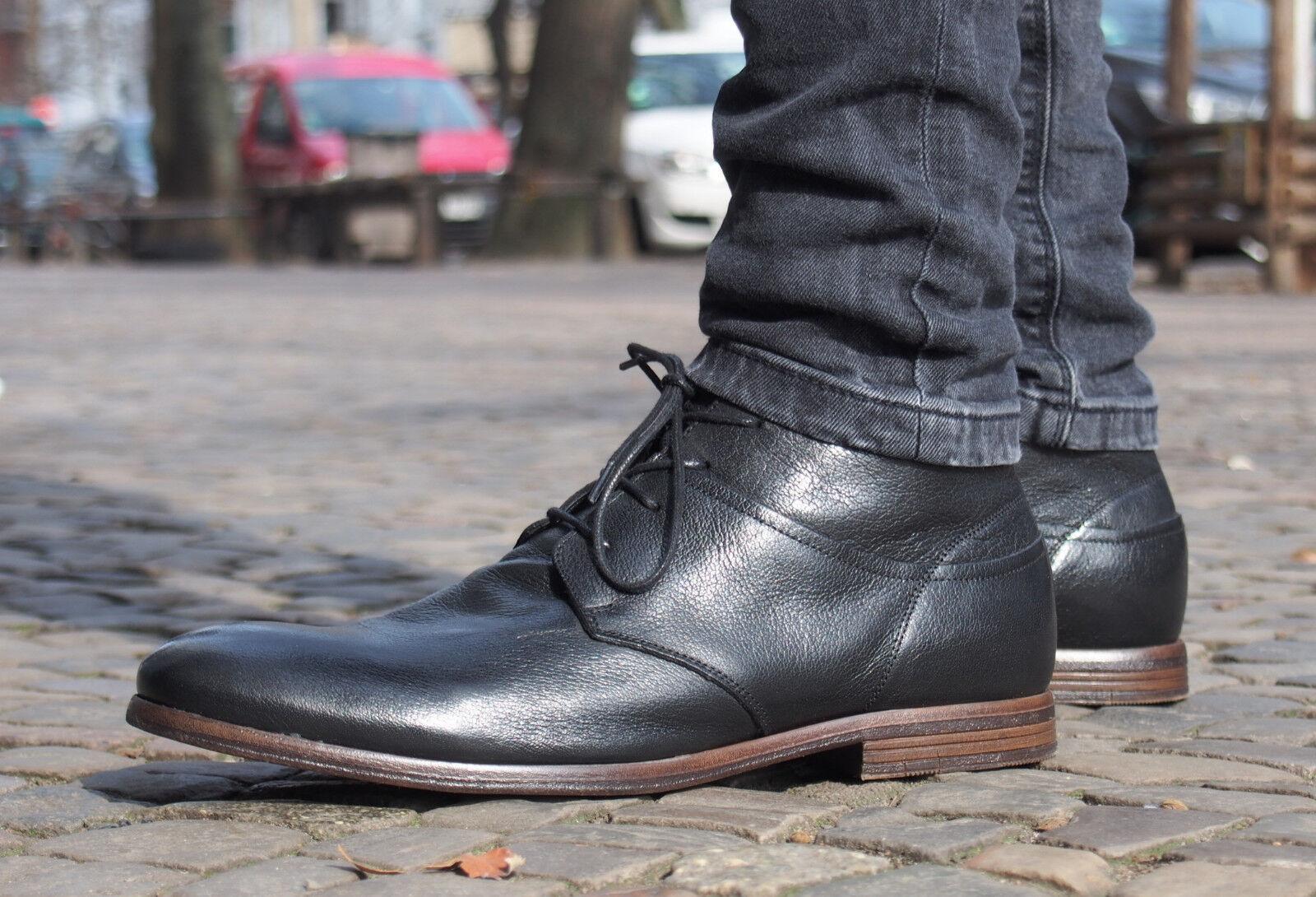 COXX BORBA Schuhe PILAU600 schwarz Herrenschuhe Echtleder Schnürschuhe rotuziert