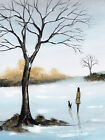 SARAH FEATHERSTONE, ORIGINAL WATERCOLOUR PAINTING, WINTER WALK, IN THE SNOW, DOG