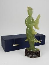 Gorgeous Chinese intricately carved Jade statue of Kwan Yin with box 9 inches
