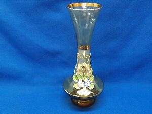 Original Arnart Creation Amber Glass Bud Vase With Gold & Hand Applied Flowers