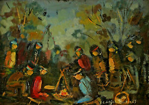 Signed-Indian-at-Campfire