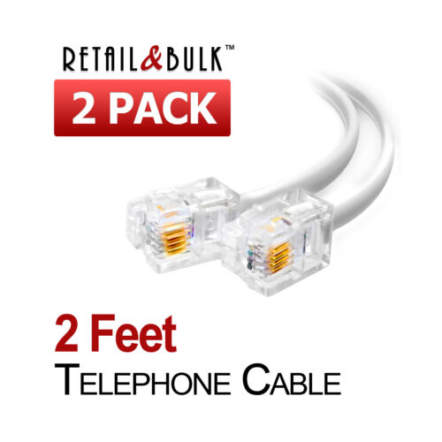 24 Inches Phone Line Cord 6P4C 2 Feet Short Telephone Cable RJ11 2 Pack