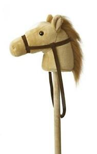 "Giddy Up Stick Horse 37"" Plush Beige Toys Kids Toddlers Pony Sounds  Aurora New"