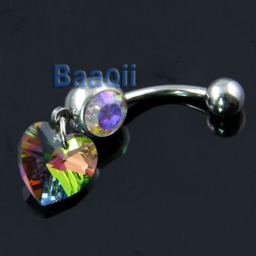 Multi Color Heart Dangle Belly Ring Bar Navel Ring BEAUTIFUL Eye-Catching DT