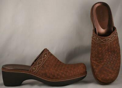 Comfort Shoes Reasonable Women's Ecco Brown Woven Leather Clog Mules Eur 39 Us 8-8.5 Driving A Roaring Trade