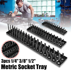 "3PCS 1/4"" 3/8"" 1/2"" SAE/Metric Socket Trays Rack Tool Holder Organizer"