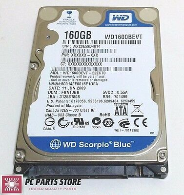 Western Digital 160GB WD1600BEVT-75ZCT2 SATA 2061-701499-E00 AC Laptop 2.5 PCB