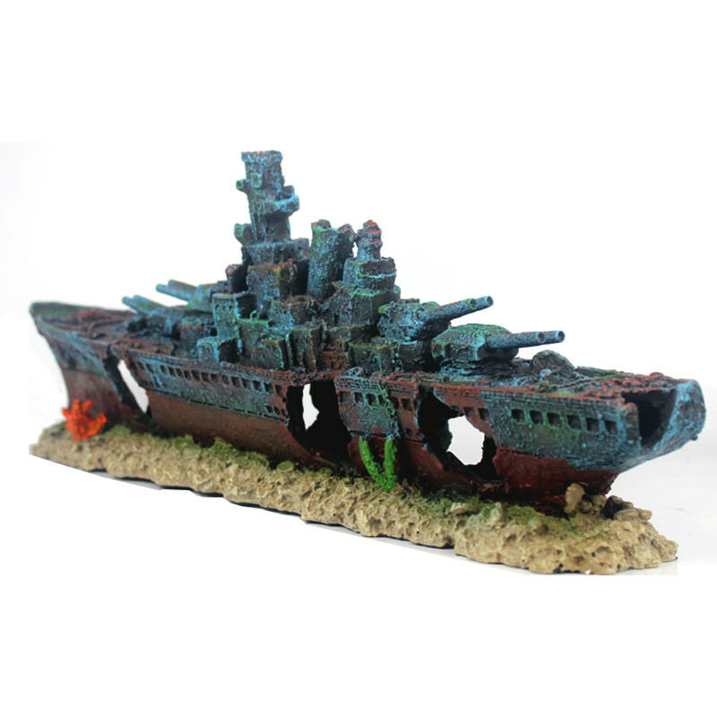 47cm Navy Warship Batttle Ship Resin Boat Aquarium Fish Tank Decoration Ornament