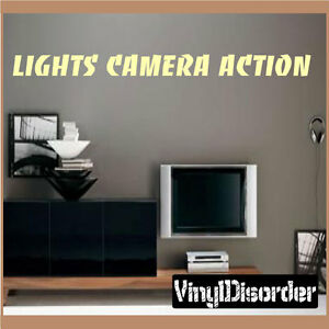 Lights Camera Action Wall Decor : Lights camera action Wall Quote Mural Decal-mediaroomquotes04 eBay