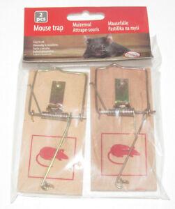 Set-Lot-x2-Pieges-Tapette-a-Souris-en-Bois-Mouse-Traps-Trampas-Raton-NEUF