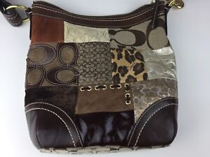 Details About Coach Fabric And Leather Patchwork Handbag Purse F0893 F12840