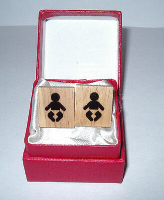 Baby Keepsakes & Baby Announcements Baby Shower New Father Gift Wood Scrabble Cufflinks Jewelry W/gift Box
