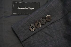 Ermenegildo Zegna Roma Fit Gray Plaid Wool 2 Pc Suit Jacket Pants Sz 48L