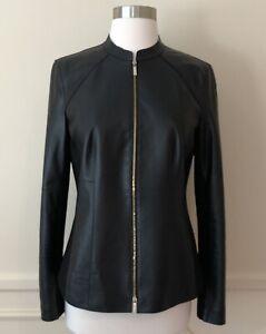 Lafayette-148-New-York-Womens-Black-Lambskin-Leather-Jacket-4-NWT-MSRP-898-ABFB