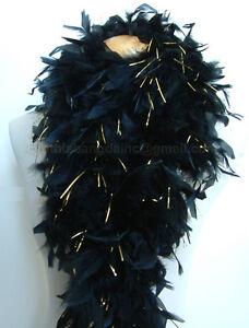 100g-Black-w-Gold-Tinsel-Chandelle-Feather-Boa-full-amp-fluffy-A-Cynthia-039-s