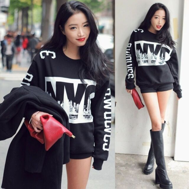 NYC Print Black Sweatshirt Long Sleeve Thicken Loose Blouse Warm Womens Tops