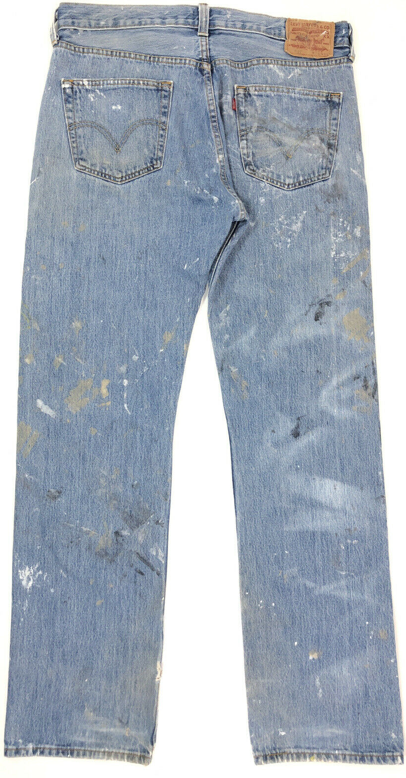 vtg 90s LEVI'S 501 Faded Work Worn Button Fly Jea… - image 3