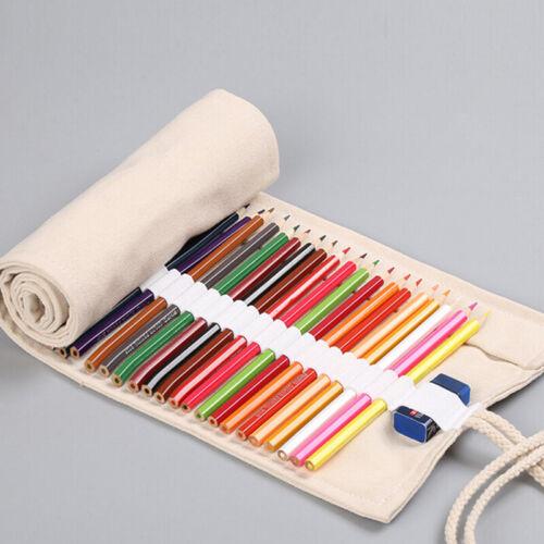 12//18//24 Hole Pouch Wrap Roll Pencil Bag Pen Canvas Holder Storage Case shan