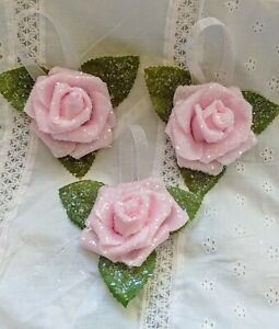 Shabby-Cottage-Chic-Christmas-Set-Three-Pink-Rose-German-Glass-Glitter-Ornaments