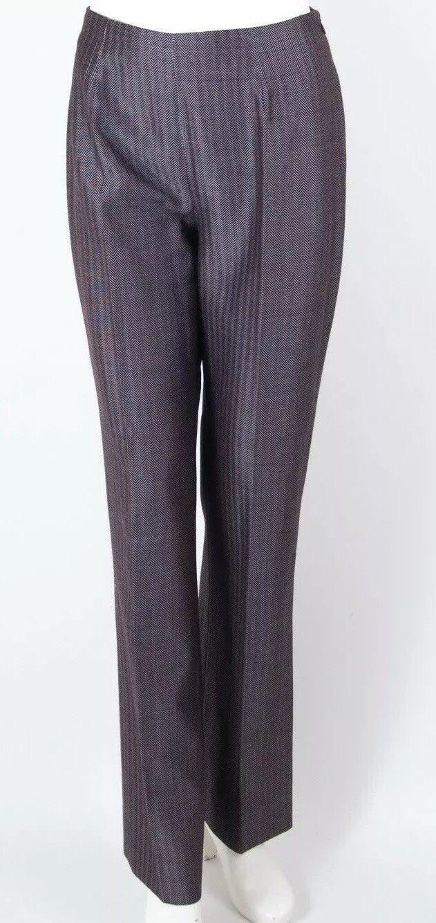 Gianfranco Ferre Studio Pants Flat Front Dressy Chevron Wool Blend Burgundy 8