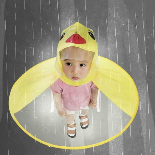 Rain Coat UFO Duck Kids Baby Children Umbrella Hat Magical Hand Free Raincoat UK