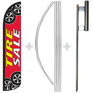 Tire Sale 15' Tall Windless Swooper Feather Banner Flag & Pole Kit
