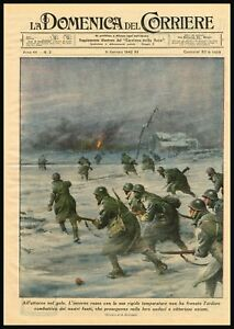 Details about 1942 Italian Soldiers Fighting under Snow WWII Battlefield -  Antique Color Print