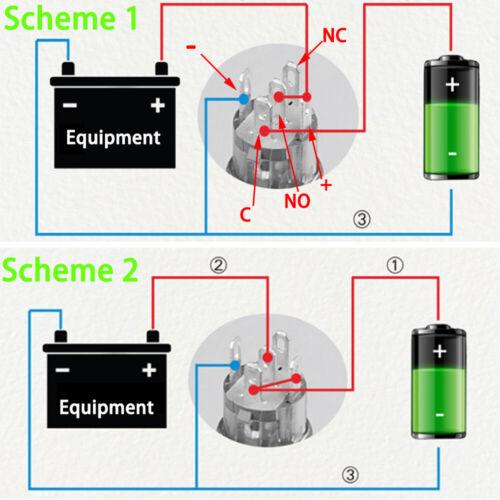 12V LED 16//12mm Metal momentánea ON-OFF Botón Interruptor de conector de coche de retorno