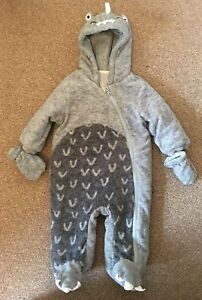 e43bf515034f Boys Next Baby Grey Dinosaur Winter Snow Pram Suit With Mittens 3 ...