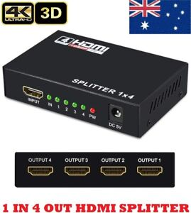 Ultra HD HDMI Switch Splitter Amplifier 1080p 4 Port Hub 3d 1 in 4out Duplicator