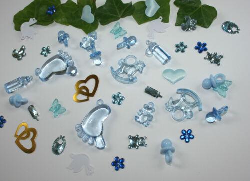 Deko  Taufe Geburt 100 Stk Streudeko  Tischdeko blau Taufdeko Schnuller
