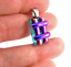 DICHROIC-Fused-Glass-Silver-PENDANT-Magenta-Pink-Verdigris-Green-Striped-Layers thumbnail 4