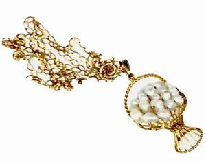 """Vintage 9ct oro Agua dulce Perla 3D Flor Cesta Colgante Collar Cadena de 18"""""""