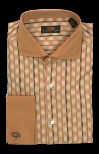 New Steven Land Men's Tan Ombre Stripe 100% Cotton Dress Shirt Style DW663