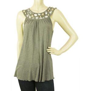 204d747abdaf01 Blugirl Blumarine Romantic Gray Beaded Cami Tank Vest Sleeveless Top ...
