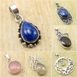 925-Silver-Overly-Variety-Of-Pendant-Jewelry-LAPIS-LAZULI-amp-Other-Gemstone