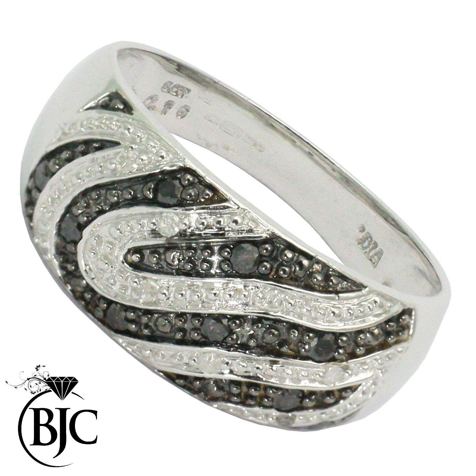 Bjc 9 Karat Weiss gold black & white Diamant 0.16ct Ct Größe I - P Zebra Welle