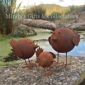 Set-of-3-Handcrafted-Rusty-Round-Metal-Bird-Garden-Art-Pond-Ornament-Statue