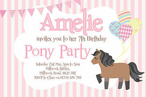 10 personalised pony party invitations girls birthday invites ebay image is loading 10 personalised pony party invitations girls birthday invites filmwisefo
