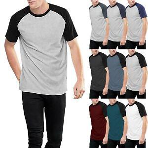 Mens-CONTRAST-RAGLAN-T-Shirts-Short-Sleeve-Athletic-Jersey-Casual-Basic-Gym