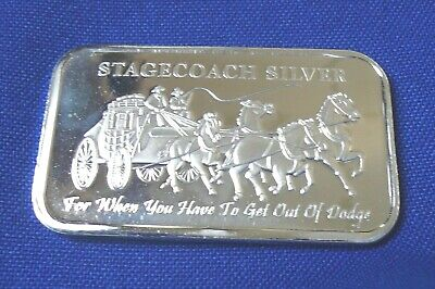 """1oz .999 SILVER /""""DIVISIBLE/"""" BAR /""""STAGECOACH/"""" FROM NORTHWEST TERITORIAL MINT"""