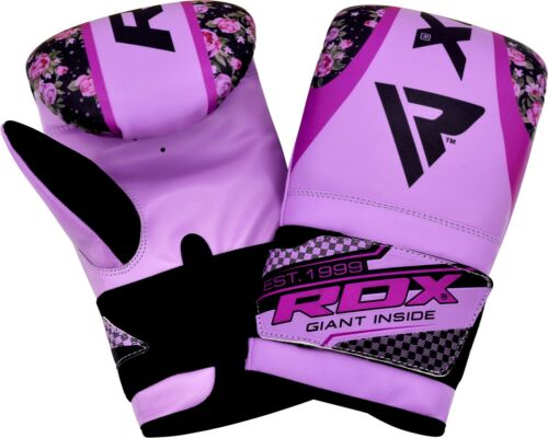 RDX Ladies Boxing Gloves Bag Mitts Womens Punching Training Flowery Design Pink