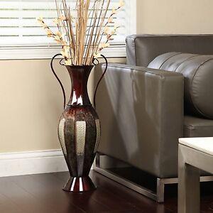Tall 2 Tone Metal Floor Vase Decorative