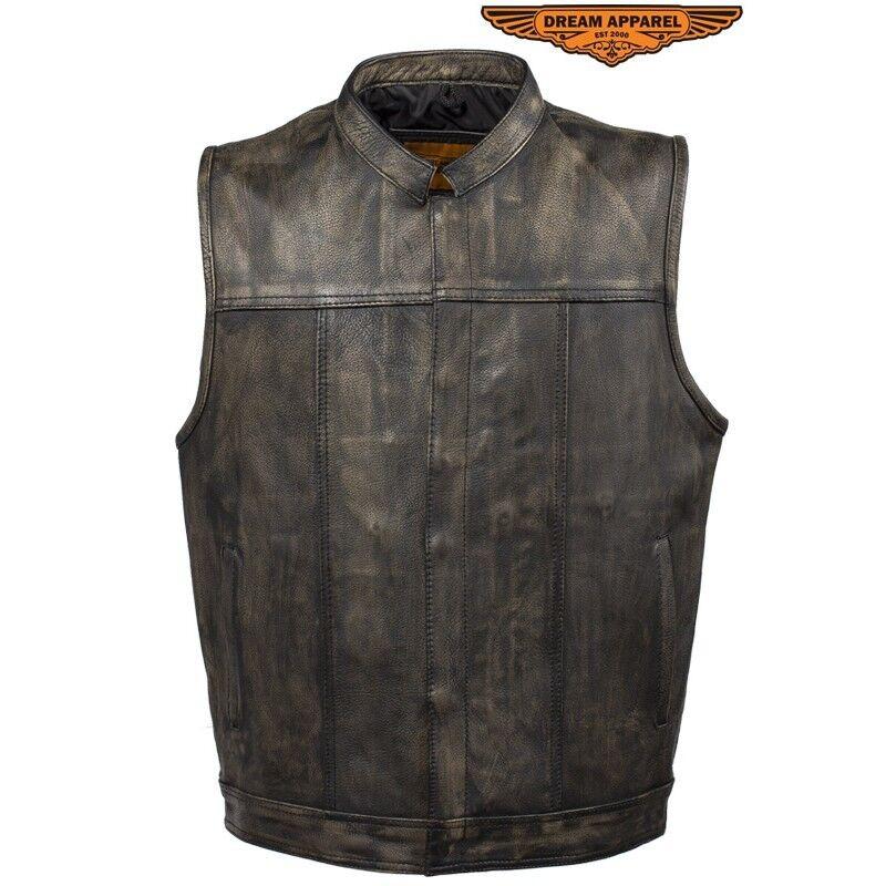 Herren Distressed Braun Leder Motorcycle Club Vest