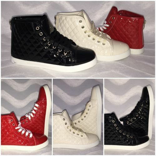 Lässige LACK High Cut Sneakers mit Steppmuster