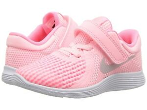 9dd562701182 Nike Sneakers Non-Tie Revolution 4 Pink Silver Little Girls Toddler ...